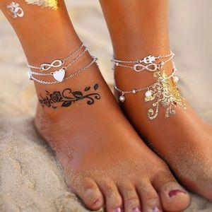 Silver Tone Hamsa Anklet